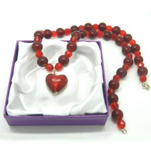 Murano Strawberry Heart Pendant 1