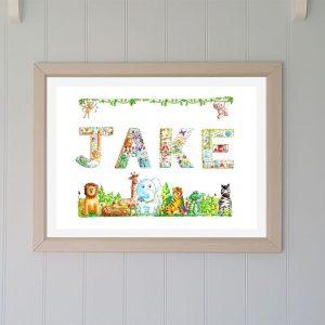 framed jungle alphabet