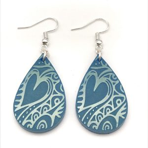 Etched Teardrop Earrings Summer Skies