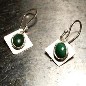 Malachite Bezel Set Earrings