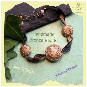 bronze flower lentil bead bracelet
