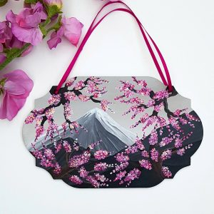 Cherry blossom mountain hand painted plaque 1