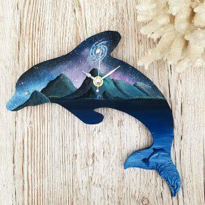space art dolphin fantasy wall clock 1